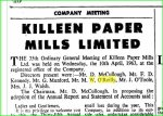M.W. O'Reilly Killeen Paper Mills Director, AGM April 1963