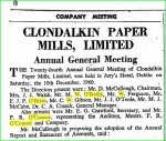 M.W. O'Reilly, Director, Clondalkin Paper Mills 1960 AGM 1