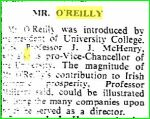 MW O'Reilly LLD Conferring  April 1964- The magnitude of Mr O'Reilly's contributin to Ireland's prosperity