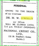 National Credit Corporation notice on death of Chairman Dr. M.W. O'Reilly