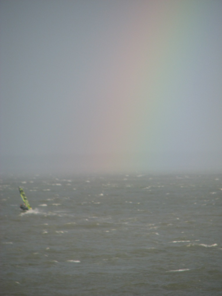 """Windsurfing Rainbow"", off Dun Laoghaire, West Pier, County Dublin, Ireland"