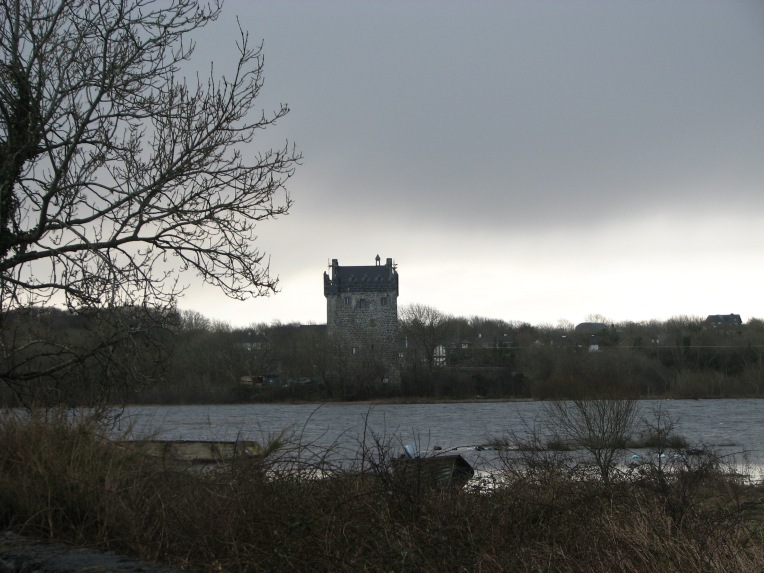 """Lovely Annaghdown"" Annaghdown Castle erected on the east shore of Lough Corrib, County Galway, Ireland by the O'Flahertys in the late 14th century."