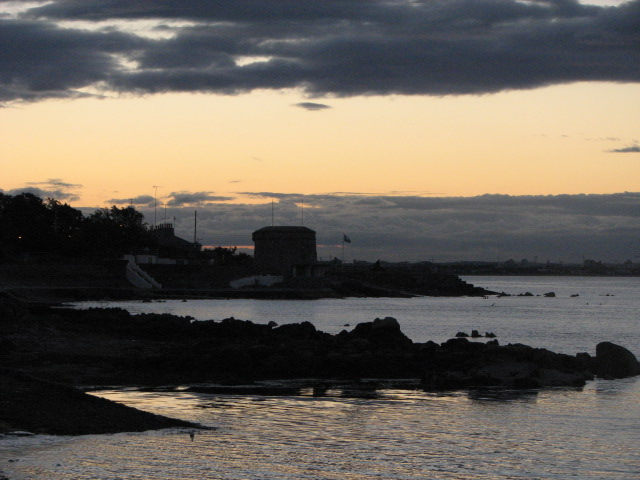 """Twilight at the Martello Tower"", Seapoint, foreshore of Dublin Bay, County Dublin, Ireland - was originally built in early 19th Century to defend Dublin from French invasion"