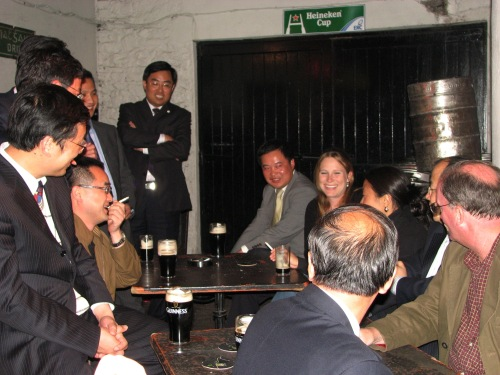 Chinese Government officials relaxing at O'Donoghue's Pub Merrion Row Dublin - Accurate Group - Ireland China Business Consultancy