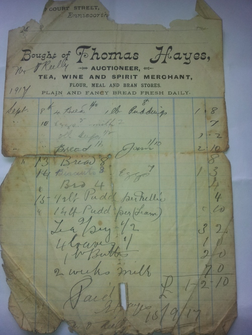 Grocery receipt from Thomas Hayes, 7 Court Street Enniscorthy,  dated 15 September 1917 made out to Mr. O'Reilly