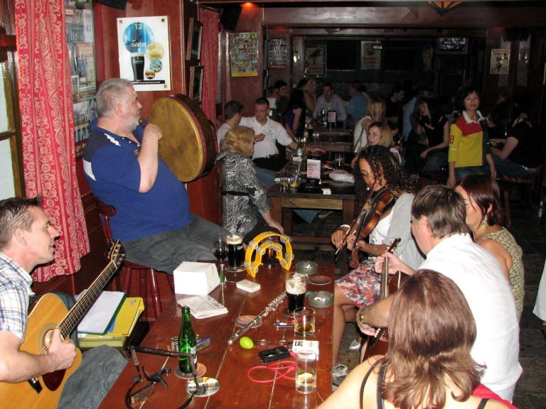 A seisiún (music making session) at The Blarney Stone Irish Pub, Dongping Road, Shanghai