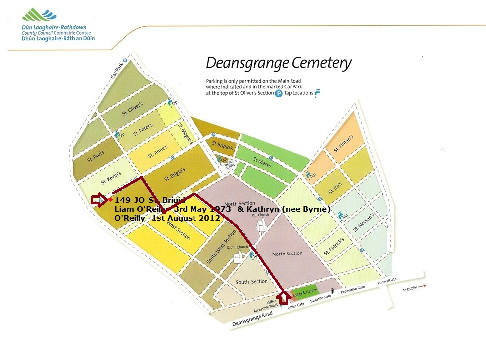 Directions - Grave # 149-JO-St Brigid