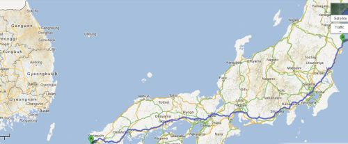 "Allied Prisoner of War in Japan (1941-1945) – Chronicle by Private John Bernard Patrick ""Barney"" Byrne – Hong Kong Volunteer Defence Corps (HKVDC) # 4732: Map 01- Route from Moji Port / Shimonoseki (A) to Yoshima-cho, Iwaki City, Fukushima Prefecture, the location of Tokyo No.14 Dispatched Camp (B), otherwise known as Yoshima Branch (Sendai 2-B) POW Camp"