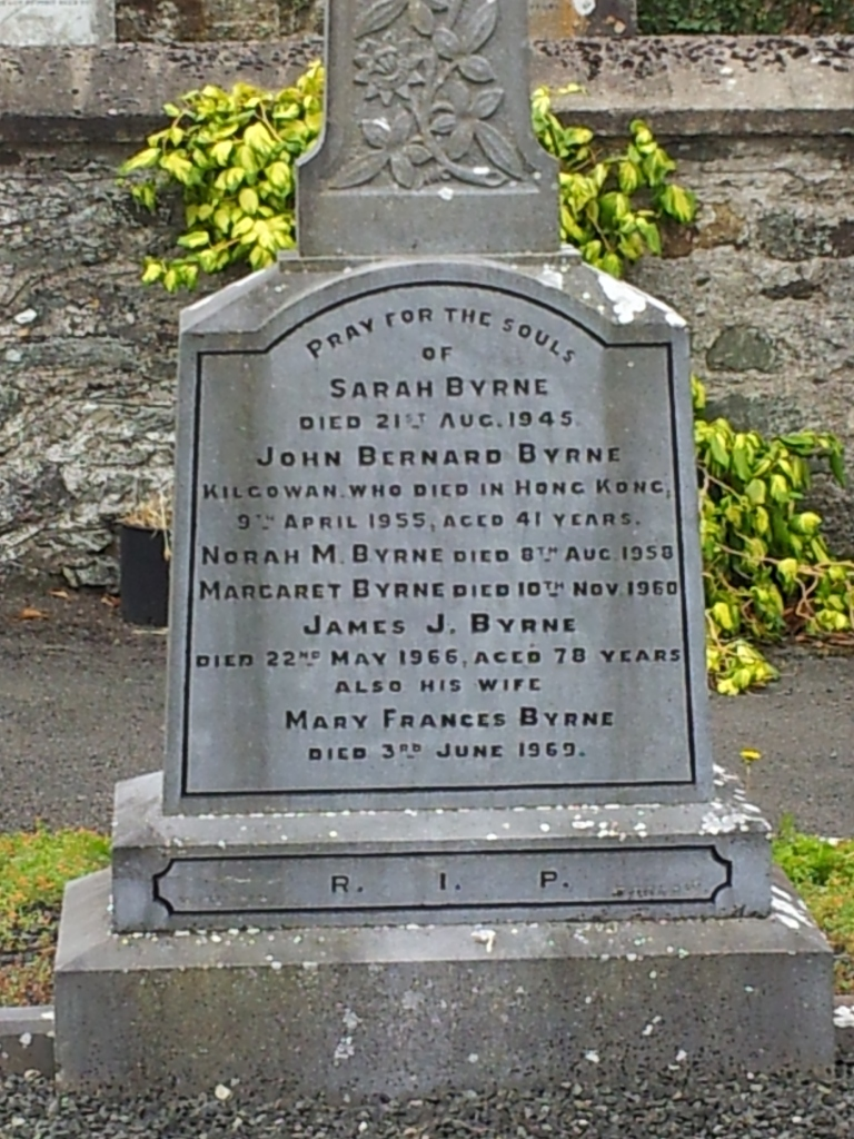 In Memory of John Bernard Patrick Byrne, New Abbey Cemetery, Kilcullen, Co. Kildare, Ireland