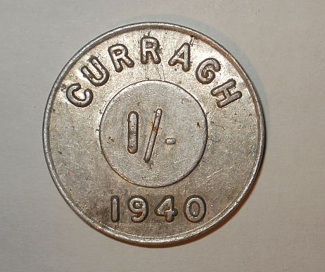 A token used by German and Allied Forces internees during  the second world war, known as The Emergency, in the Curragh Military Internment Camp, Kildare, Ireland