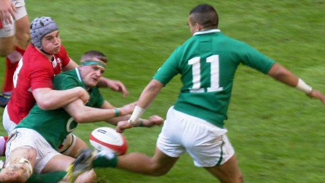 Ireland winger Simon Zebo's dazzling 'back-heel flick'