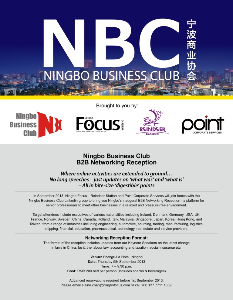 Ningbo Business Club B2B Networking Event - Shangri-la Hotel - Thursday 5th September 19hrs