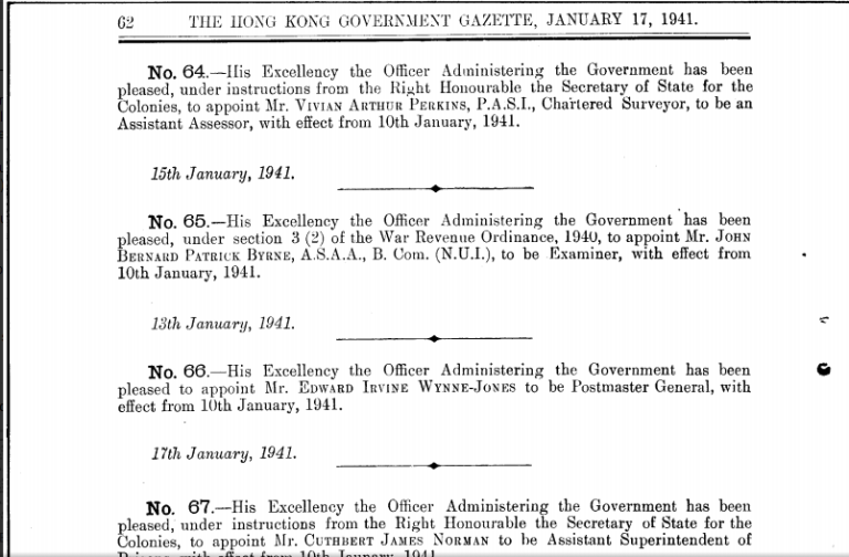 Hong Kong Government Gazette announcement of John Bernard Patrick Byrne's appointment as Examiner