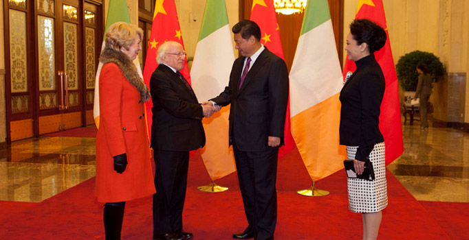 President Xi Jinping of China welcomes President Higgins of Ireland to China