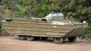 Six-wheel-drive 6.8 ton amphibious DUKW, better known as the Duck, now a familiar sight as a tourist conveyances in many cities
